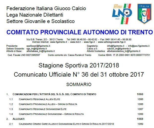 Calendario Allievi Lega Pro.F I G C L N D Comitato Provinciale Autonomo Di Trento